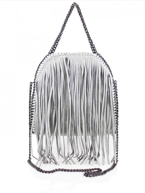 Fringed Chain Trim Tote Bag - Light Grey