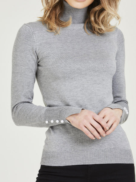 Pearl Detail Roll Neck Jumper - Grey