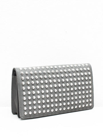 Grey Studded Clutch Purse