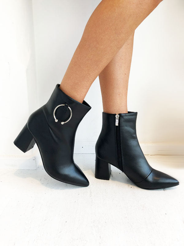Black Ring Ankle Boots