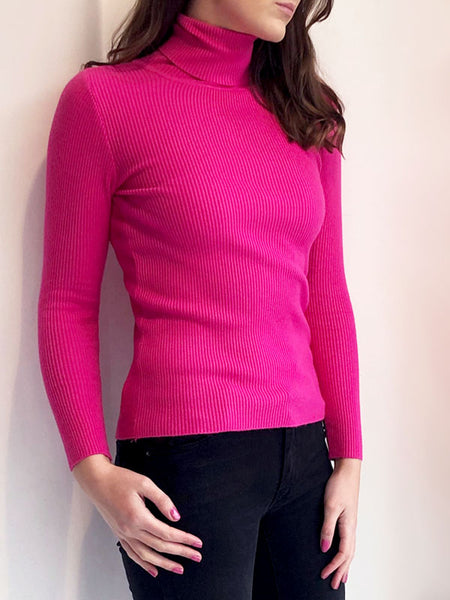 Hot Pink Ribbed Polo Jumper