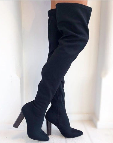 Black Knit Over Knee Boots