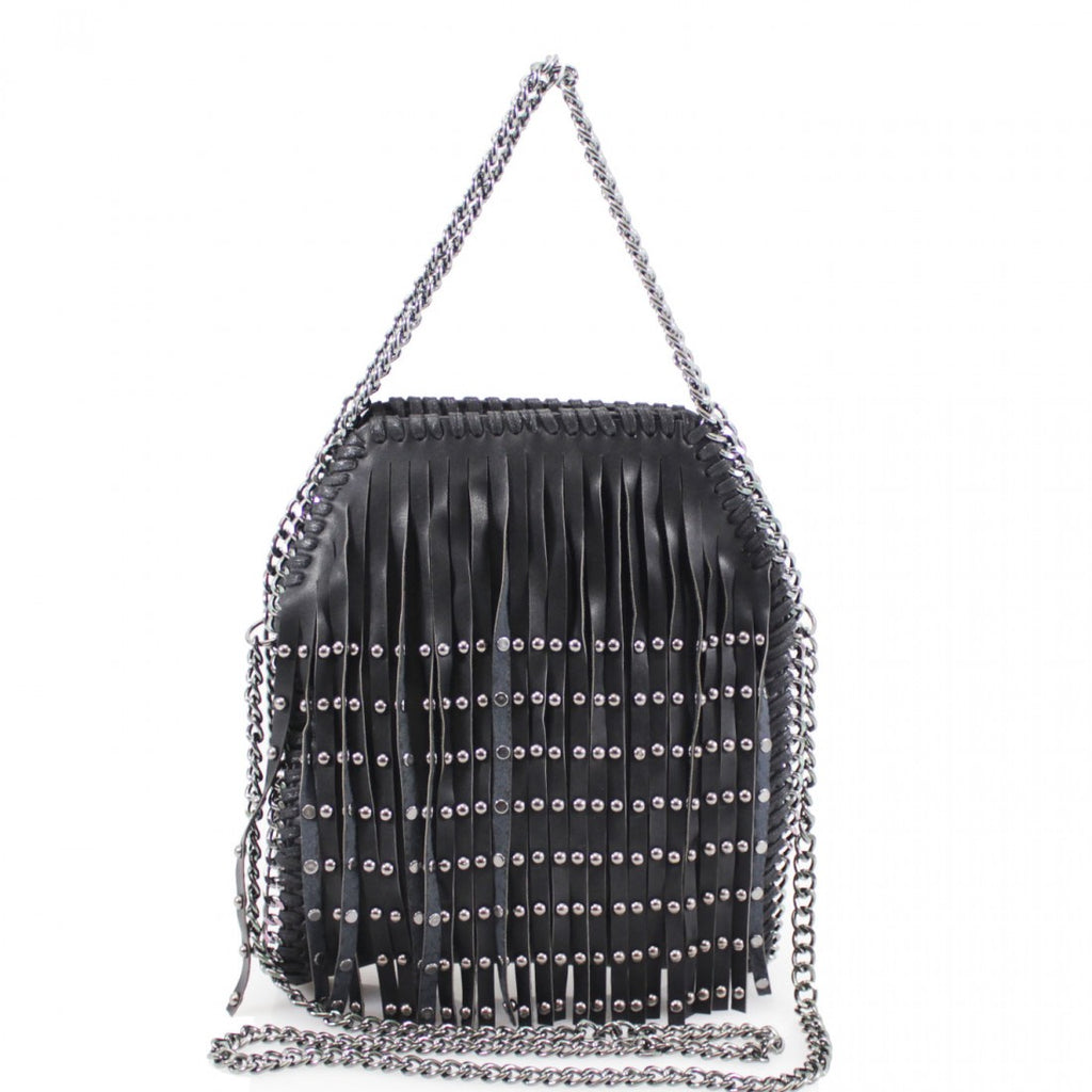 Fringed Chain Studded Trim Tote Bag - Black