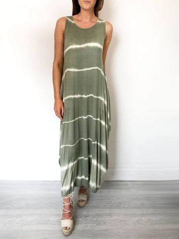 Khaki Tie Dye Slouchy Jersey Dress