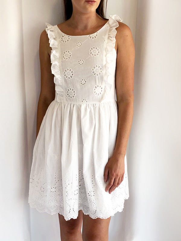 White Crochet Skater Dress