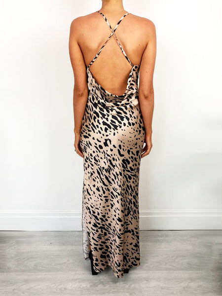 Cream Leopard Print Slip Dress