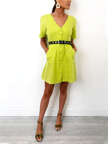 Lime Button Down Dress