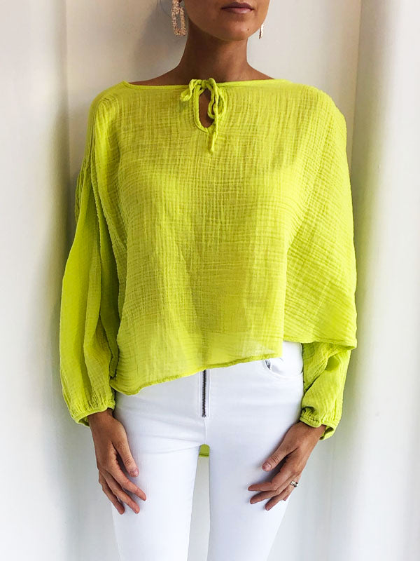 Lime Green Peasant Blouse
