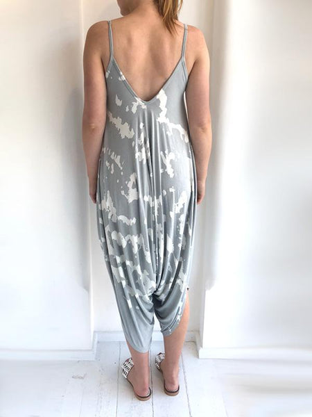 Pale Grey Tie Dye Jersey Jumpsuit