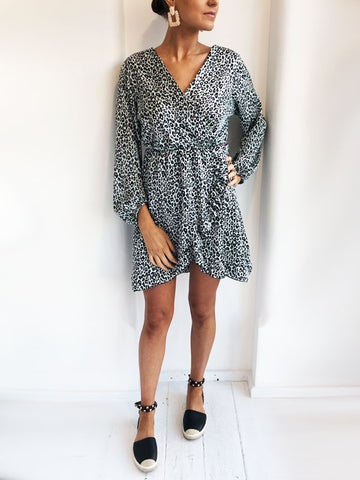 Mint Leopard Print Wrap Dress