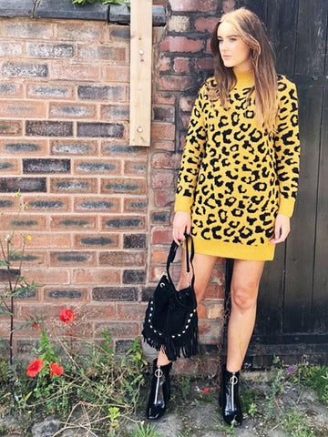 Mustard Leopard Print Jumper Dress
