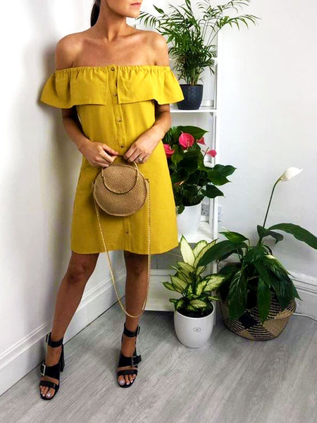 Mustard Bardot Mini Dress