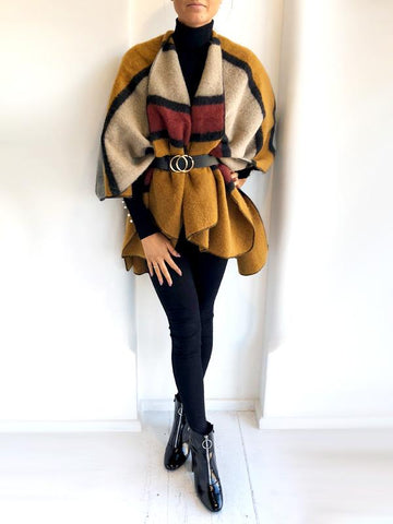 Mustard Tan & Burgundy Cape