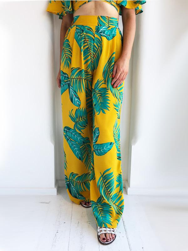 Mustard Tropical Wide Leg Trousers