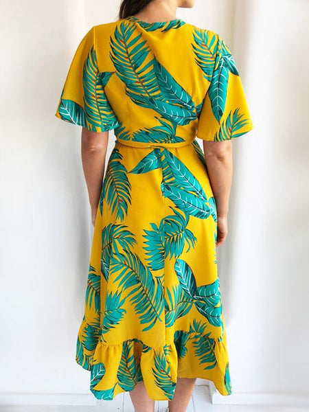 Mustard Tropical Wrap Midi Dress