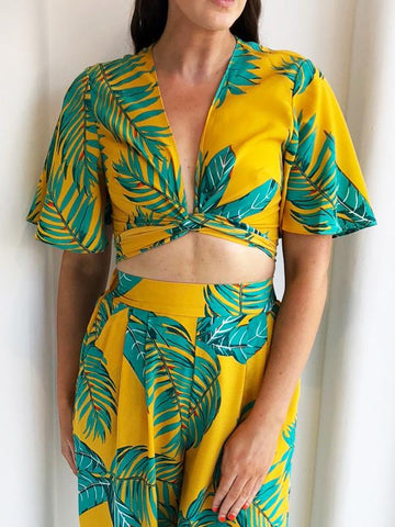 Mustard Tropical Tie Crop Top