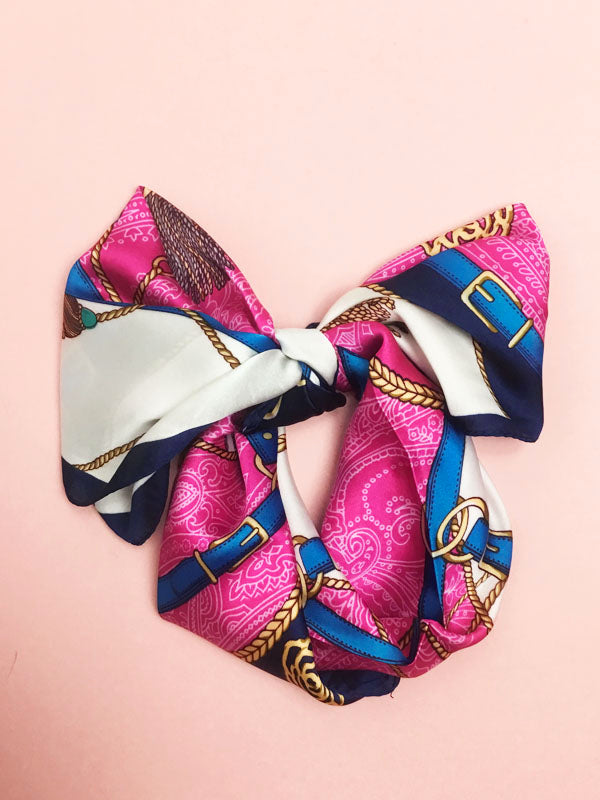 Pink & Navy Headscarf