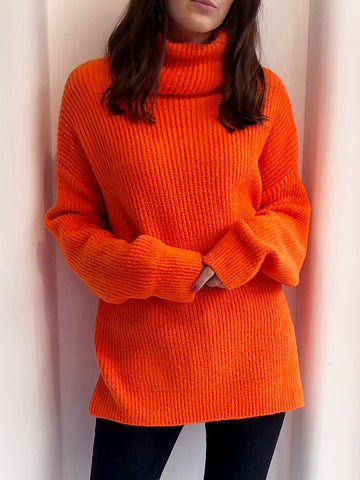 Bright Orange Oversized Roll Neck Jumper