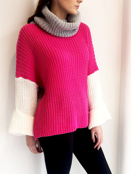Neon Pink Colour Block Jumper