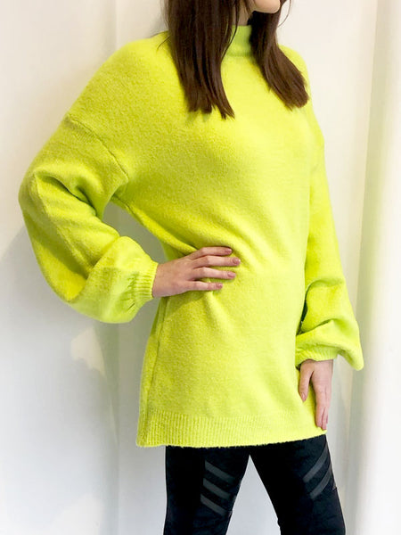 Neon Yellow Oversized Roll Neck Jumper