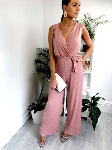 Blush Pleated Sleeveless Jumpsuit