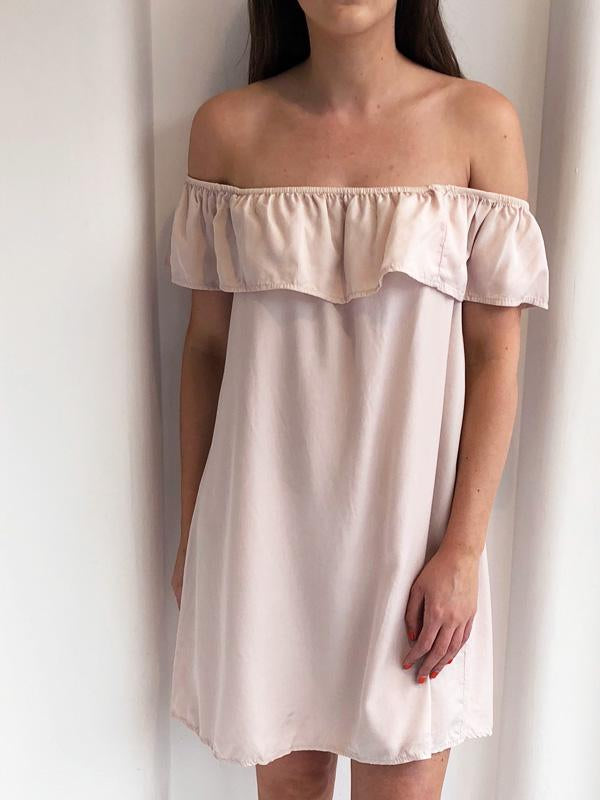 Nude Frill Off The Shoulder Summer Dress