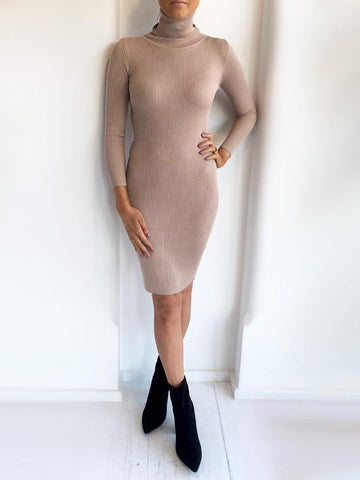 Nude Roll Neck Ribbed Midi Dress