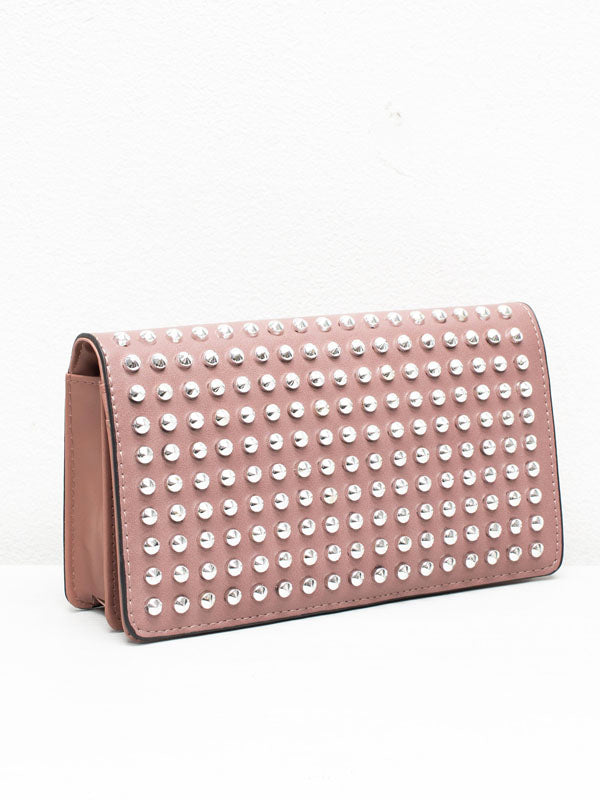 Nude Studded Clutch Purse