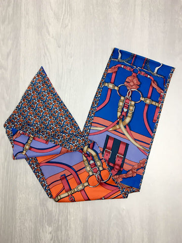 Blue & Orange Reversible Headscarf