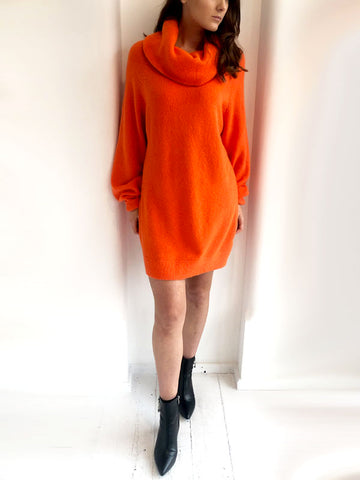 Bright Orange Oversized Jumper Dress