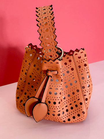 Orange Laser Cut Bag