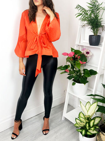 Orange Tie Front Peplum Top