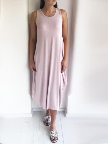Pale Pink Slouchy Sleeveless Jersey Dress