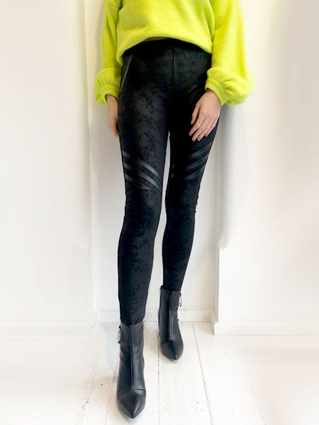 Leather Look Panel Leggings