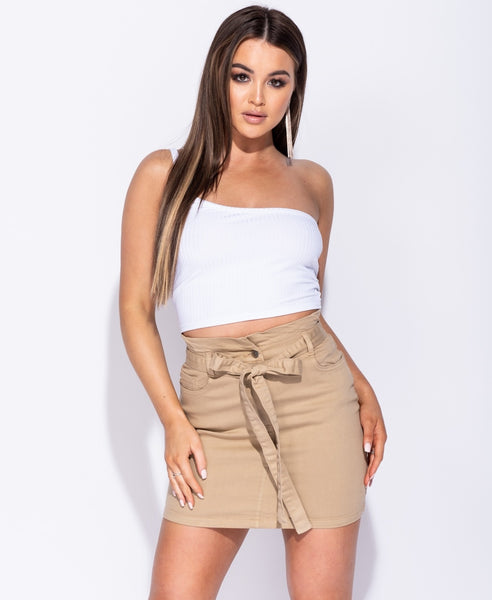 Camel Tie Waist Denim Skirt