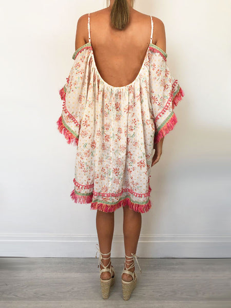 Pink Fringe Beach Dress