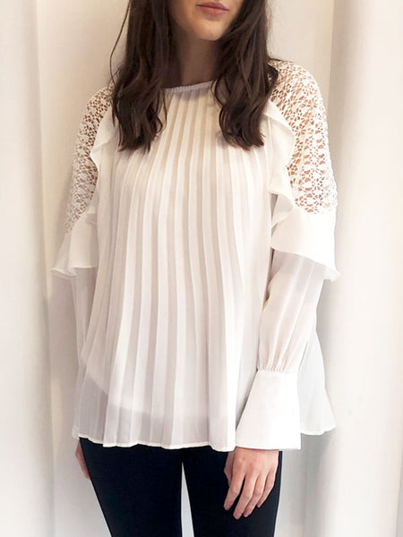 White Pleated Frill Sleeve Top