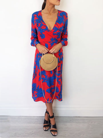 Red & Cobalt Midi Dress