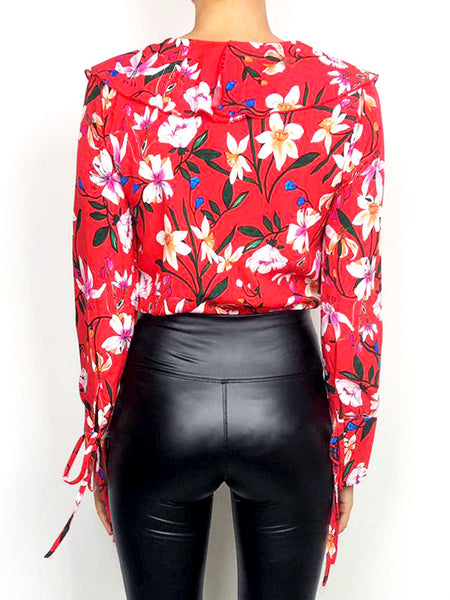 Red Floral Bodysuit