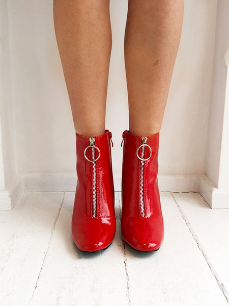 Red Hoop Detail Ankle Boots