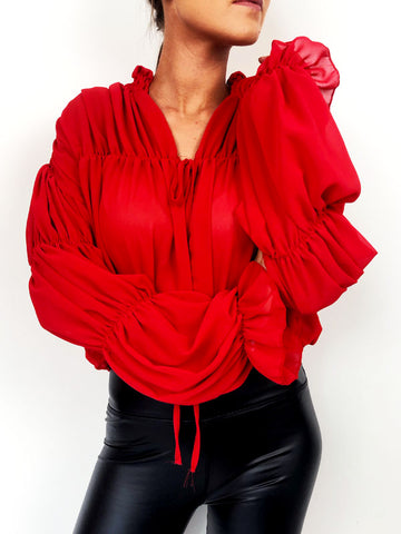 Red Gathered Ruffle Blouse