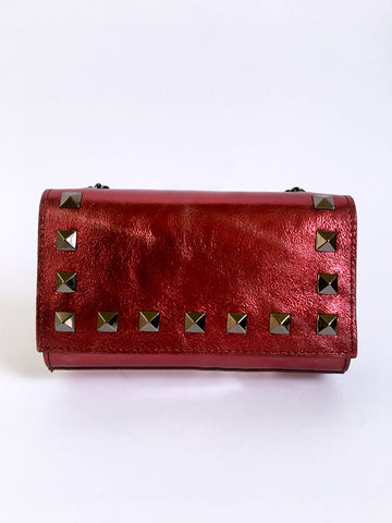 Shiny Red Rock Stud Leather Bag