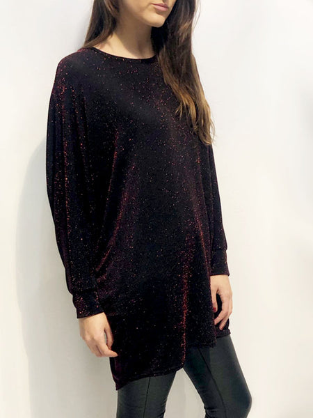 Red Sparkle Batwing Top