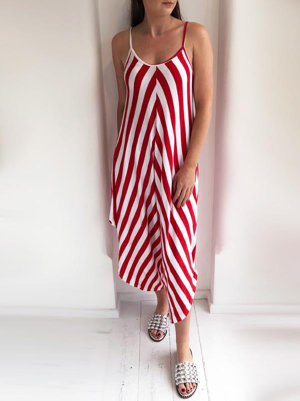 Red And White Striped Jersey Jumpsuit