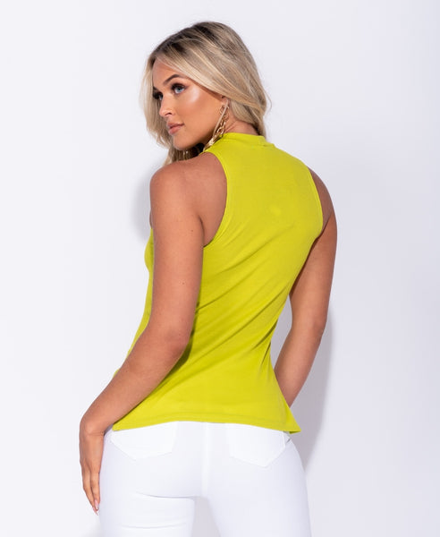 Lime High Neck Top