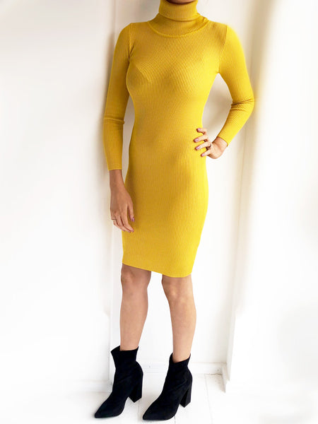Mustard Roll Neck Ribbed Midi Dress