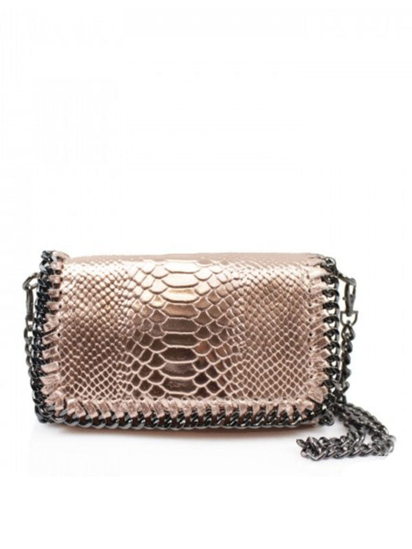 Rose Gold Metallic Chain Detail Leather Bag
