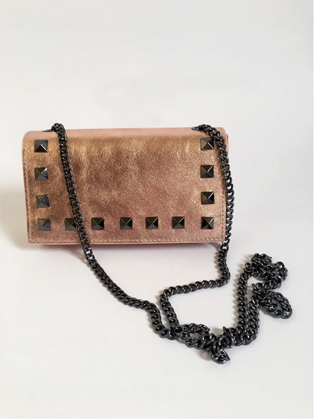 Rose Gold Rock Stud Leather Bag
