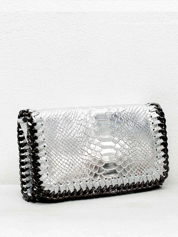Silver Metallic Chain Detail Leather Bag