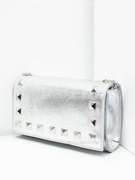 Silver Rock Stud Leather Bag